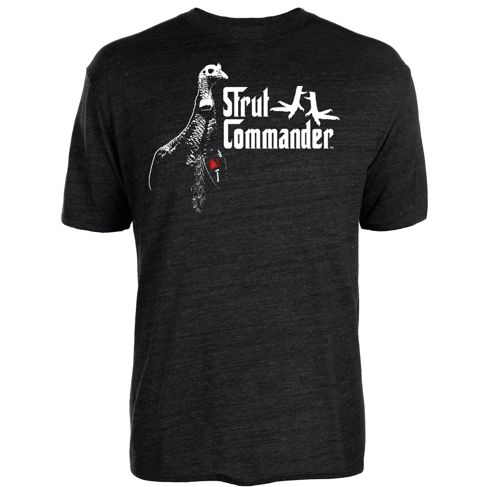 """Black Tri-blend cotton tee with the Strut Commander """"Gob-Father"""" logo screen printed on the front. The """"Gob-Father"""" logo is a turkey with a red rose, """"Strut Commander"""" wording and two turkey legs."""