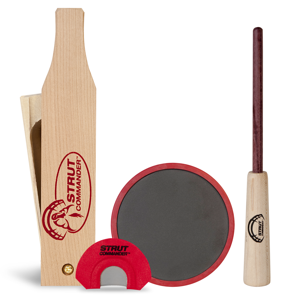 Essential turkey calls every hunter needs - dual-sided, pre-chalked box call made of poplar wood, a polycarbonate slate pot call with purple heart wood striker and a custom modified-v cut mouth call.