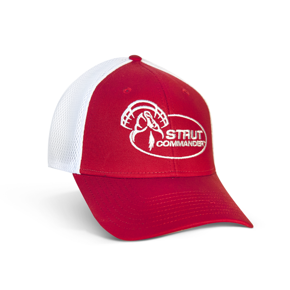 Red New Era 3930 stretch-fit cap with white mesh backing and the full Strut Commander logo embroidered in white on the front panels.